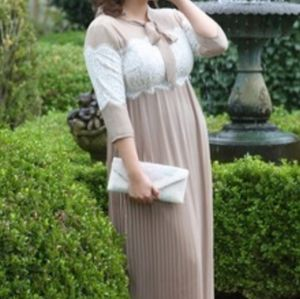 Dainty Jewells Clothier Neutral Lace Pleated Dress